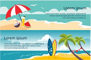 Summer travel horizontal banners