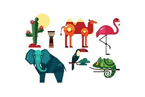 Wild African animals set, cactus
