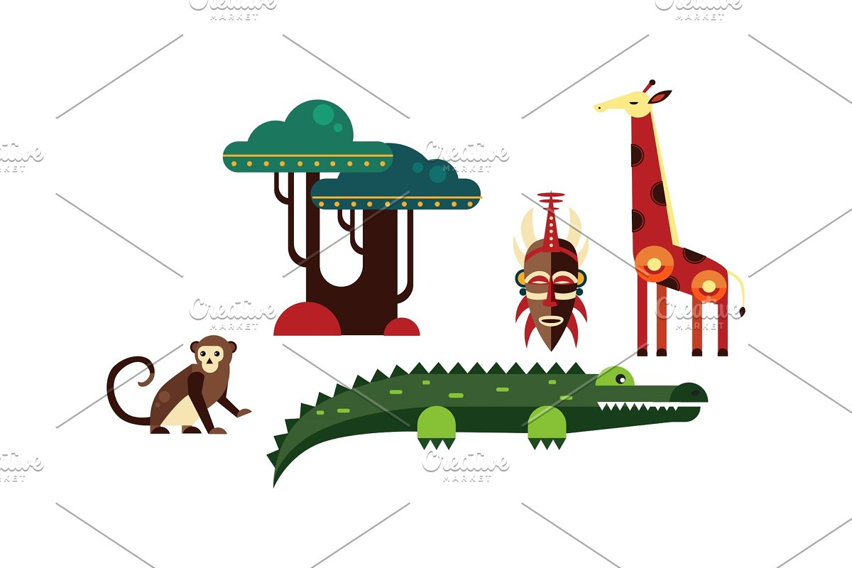 Wild African animals set, monkey