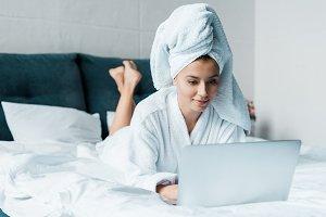 beautiful young woman in bathrobe us