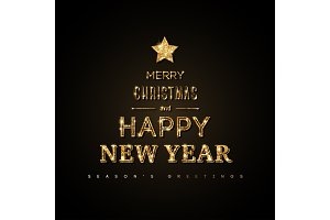New Year gold typography