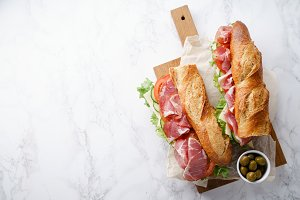 Fresh baguette sandwich