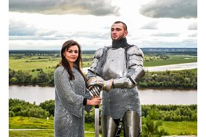 Knight with his lady in armor and