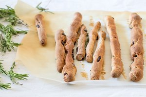 Grissini breadsticks with herbs