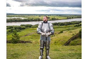 Knightly armor and weapon