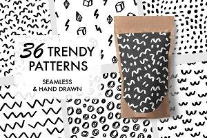 36 Hand Drawn Trendy Patterns + SVG