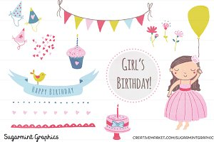 Birthday Girl Clip Art Dark-Haired