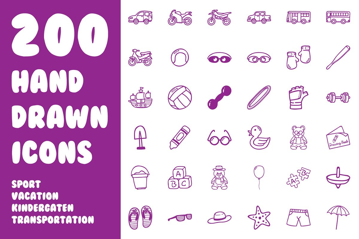 200 Ultimate Hand Drawn Icon Pack