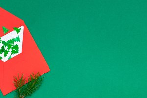 Christmas greeting card with red env