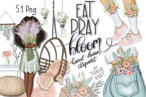 Eat Pray Bloom Graphic Design Kit