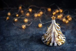 Decorative golden christmas tree