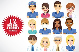 12 Doctor & Nurses Avatars