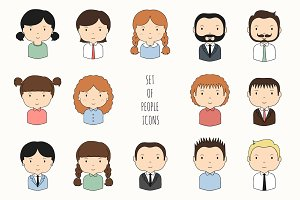 Set of people icons. Drawn faces.