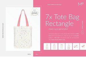 7x Tote Bag Mock-ups Set FREE DEMO