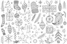 Vector Line Art Christmas Doodle Set