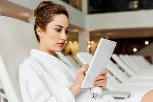 attractive young woman in bathrobe u