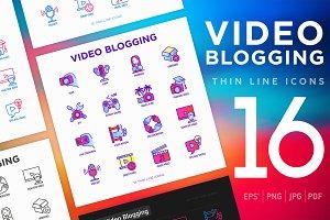 Video Blogging | 16 Thin Line Icons