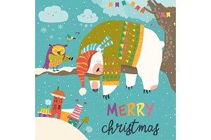 Vector Christmas card with sleeping