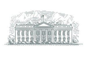 White House line illustration.