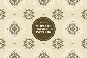 Seamless vintage ship wheel pattern