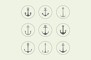 Anchor, crown, arrow icons
