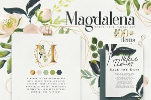 Magdalena watercolor floral set