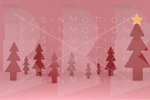 Red pines background scene. Set.