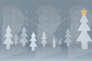 White pines background scene. Set.