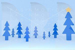 Blue pines background scene. Set.