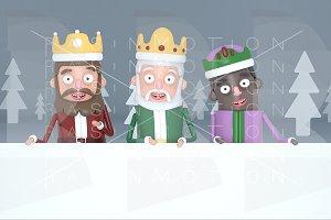 Three magic kings holding a placard
