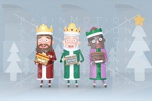 Three Magic Kings standing on a grey