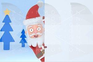 Santa holding  a big white placard