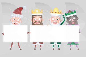 Magic Kings & Santa holding placard