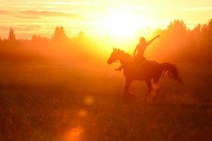 Trick riding women galloping horse