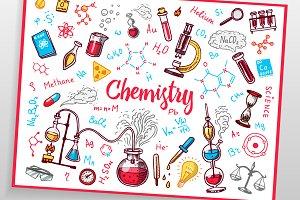 Chemistry icons doodle set