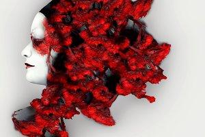 Vivid Red Headdress