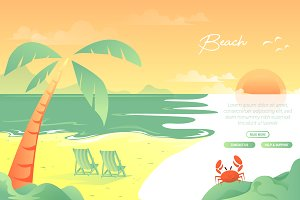 Beach - Vector Landscape & Building