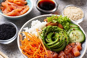 Hawaiian poke bowl with salmon, rice