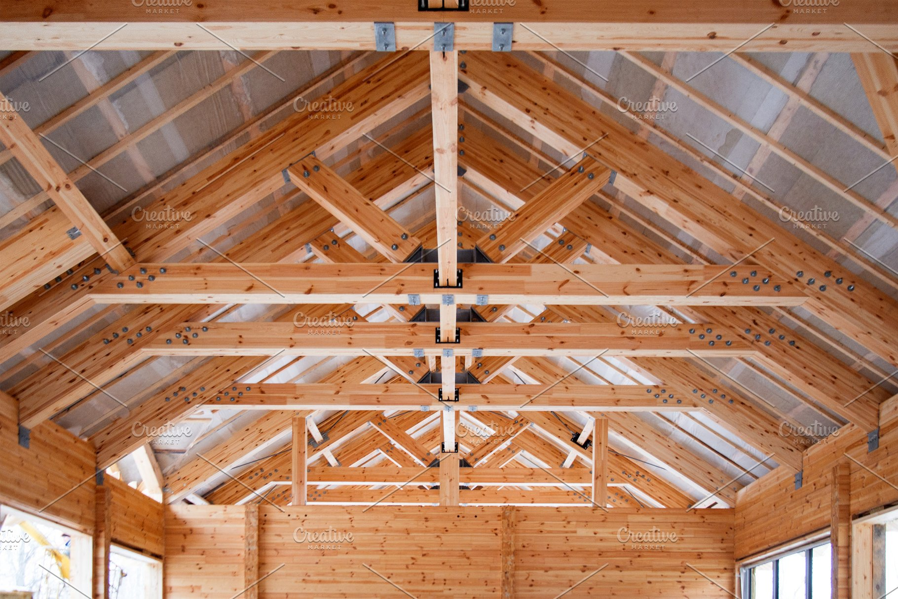 Roof Construction Of Wooden Trusses High Quality Architecture