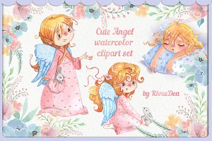 Watercolor Angel girl clipart set