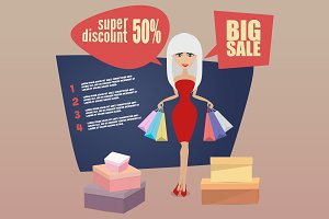 Woman on shopping sale holding bags