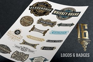 Pack of 16 logos and badges