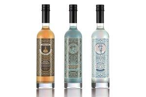 Set of 3 vintage liquor labels