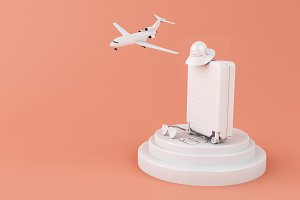 3d Travel suitcase and airplane. Tra