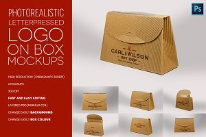 Logo on cardboard box mockups