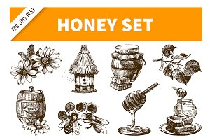 Honey Hand Drawn Vintage Set