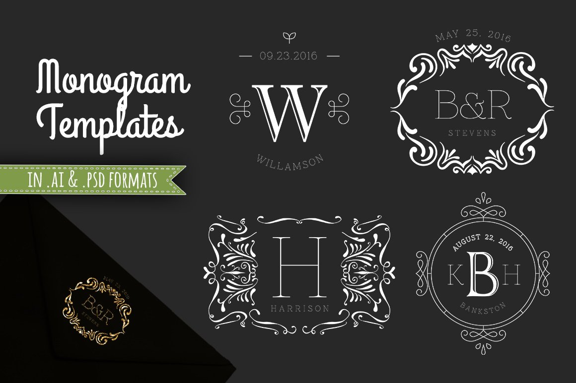 4 Decorative Monogram Template PSD ~ Templates ~ Creative Market