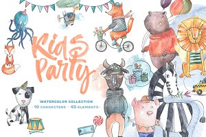 Kids party watercolor collection