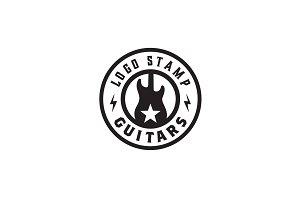 Guitar Emblem Badge Stamp Logo