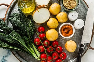background of food ingredients on a